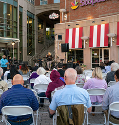 MHNHS's 47th Annual Meeting was held outside in the One Brigham Circle Plaza in 2021