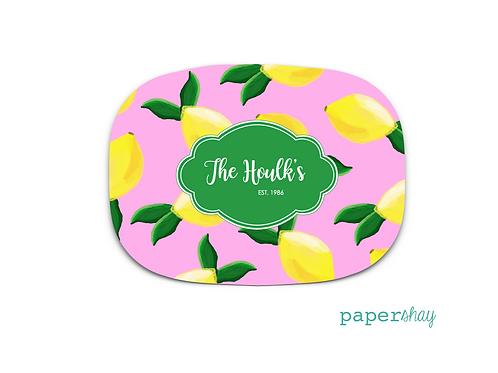 Personalized Melamine Platter  Lemons