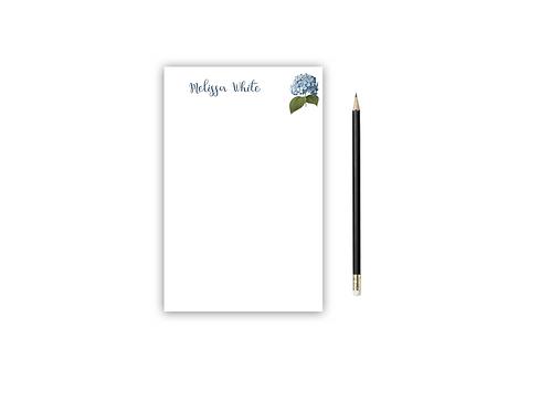 Personalized Notepad BLUE HYDRANGEA
