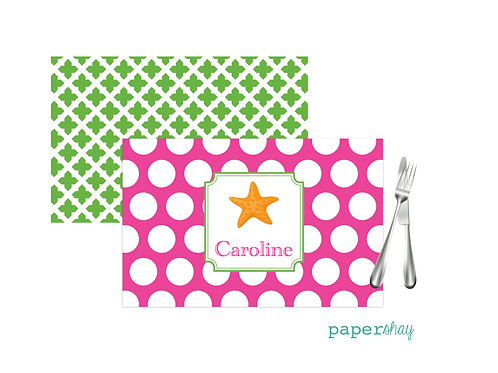 Placemat Laminated--Dots Starfish