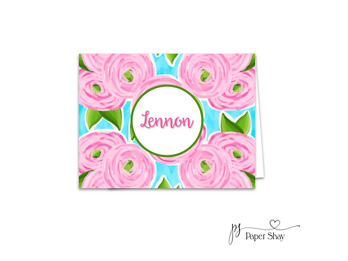 Fold Over Note Cards--Pink Peonys