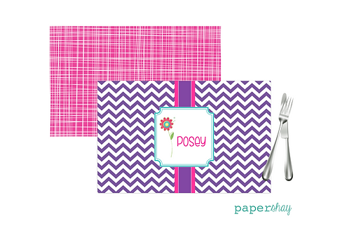 Placemat Laminated--Chevron Flower