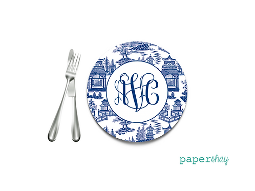 Personalized Melamine Plate Chinoiserie