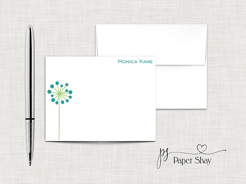 Flat Note Cards--Personalized/Flower