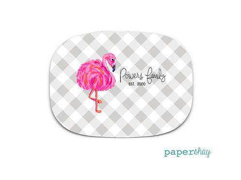Personalized Melamine Platter  Flamingo