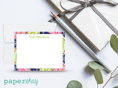 Flat Note Cards--Personalized/Paisley