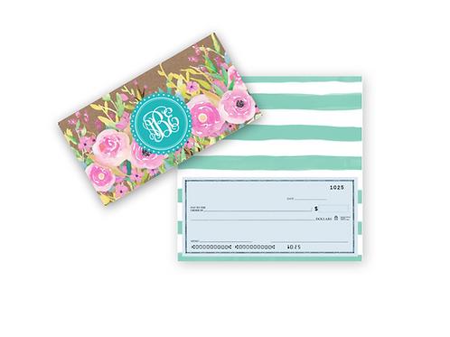 Checkbook Cover-Kraft Floral