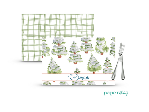 Placemat Laminated--Snow Covered Pine Trees