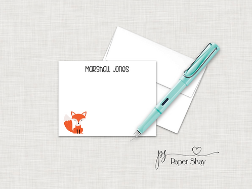 Flat Note Cards--Personalized/Fox