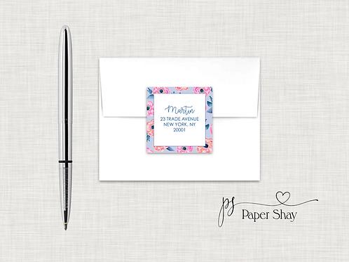 Return Address Labels Square-Floral