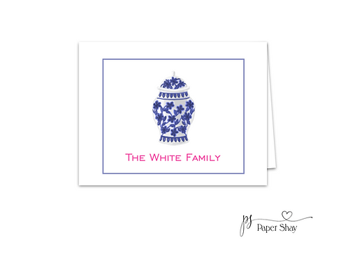 Fold Over Note Cards--Ginger Jar