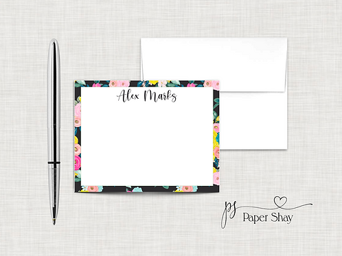 Flat Note Cards--Personalized/Black Floral