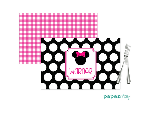 Placemat Laminated--Minnie Dots