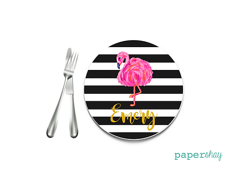 Personalized Melamine Plate  Striped Flamingo