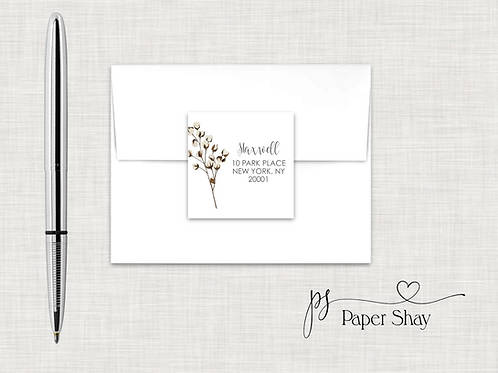 Return Address Labels Square-Cotton