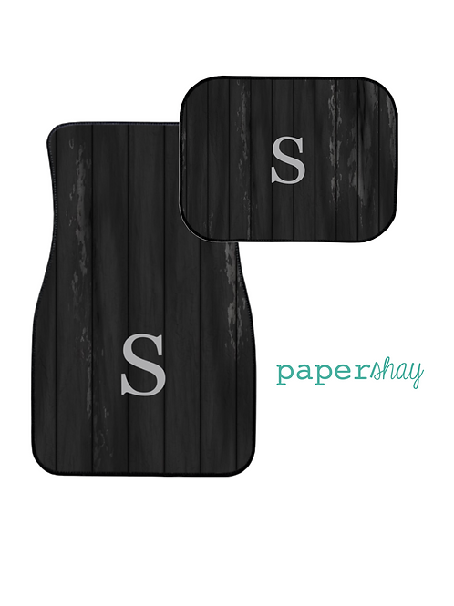 Car Mats Personalized--Wooden Black