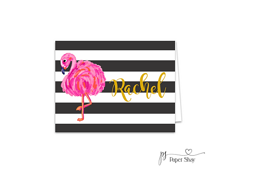 Fold Over Note Cards--Stripes and Flamingo