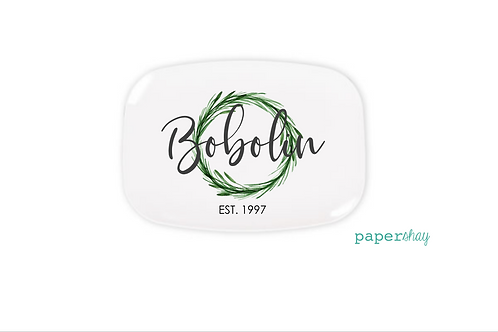 Personalized Melamine Platter  Grapevine Wreath