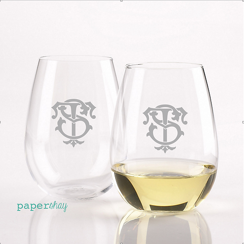 Acrylic Stemless Wine Glass--Personalized