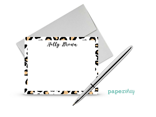 Flat Note Cards--Personalized/Leopard