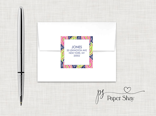 Return Address Labels Square-Paisley