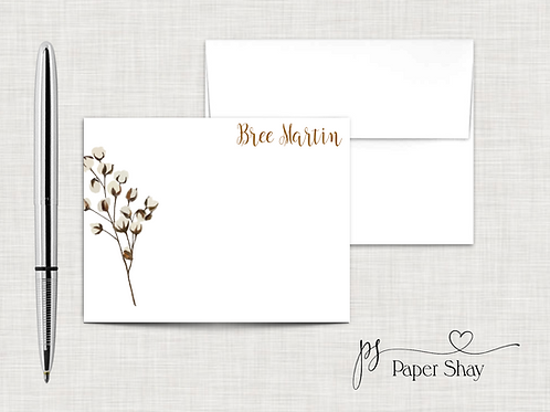 Flat Note Cards--Personalized/Cotton