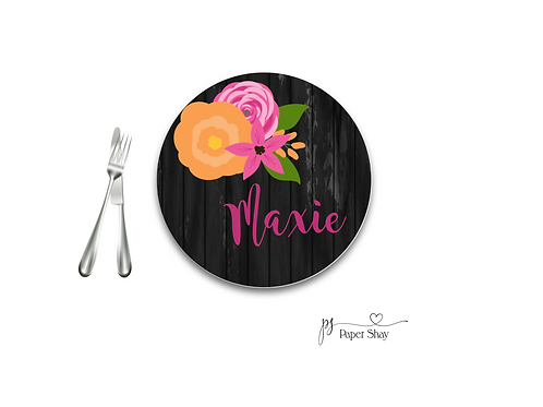 Personalized Melamine Plate  Black/Floral