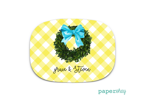 Personalized Melamine Platter  Gingham Black