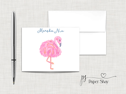 Flat Note Cards--Personalized/Flamingo