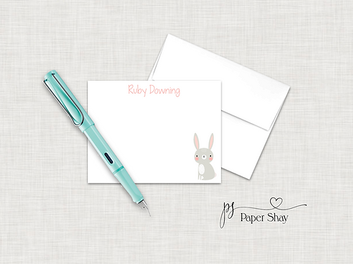 Flat Note Cards--Personalized/Bunny