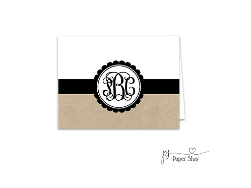 Fold Over Note Cards--Burlap