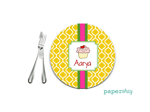 Personalized Melamine Plate  Cup Cake