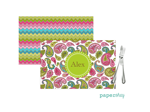 Placemat Laminated--Paisley