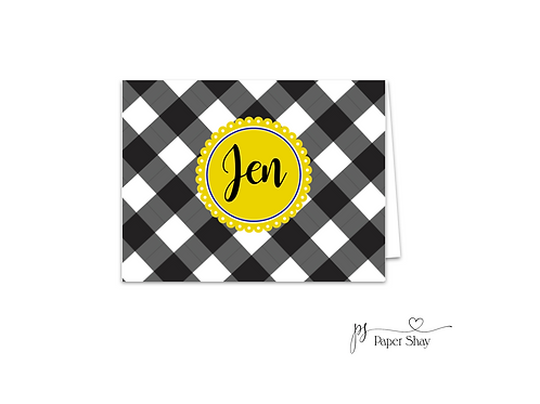 Fold Over Note Cards--Gingham