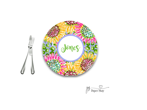 Personalized Melamine Plate  Sunflowers