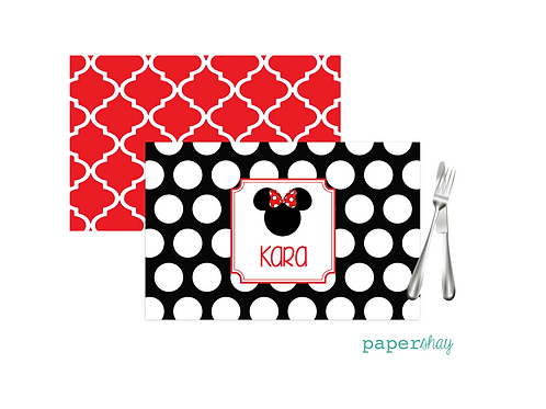 Placemat Laminated--Minnie Red Dots