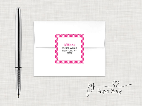 Return Address Labels Square-Gingham