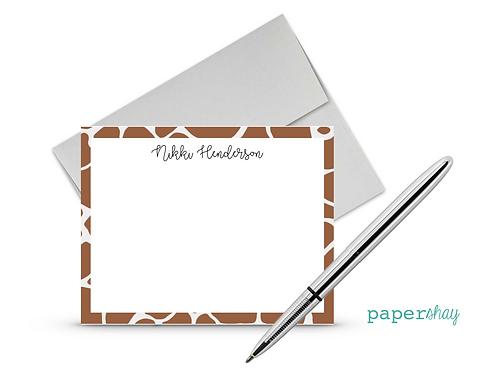 Flat Note Cards--Personalized/Giraffe
