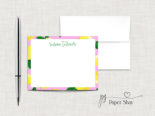 Flat Note Cards--Personalized/Lemons