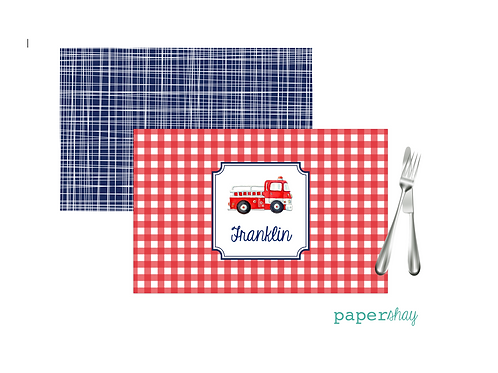 Placemat Laminated--Gingham Firetruck