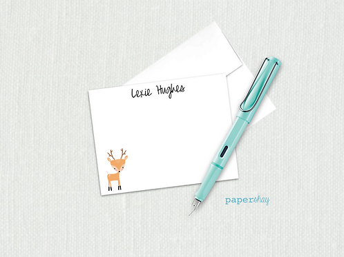 Flat Note Cards--Personalized/Deer