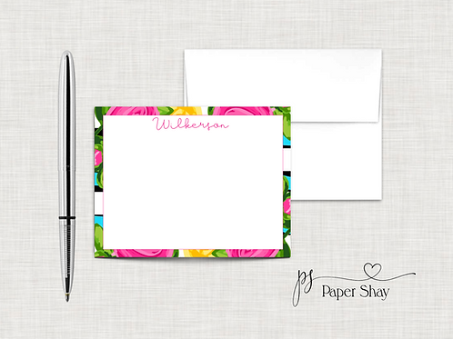 Flat Note Cards--Personalized/Floral