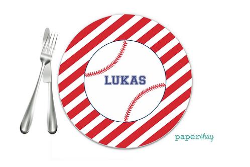 Personalized Melamine Plate  Baseball