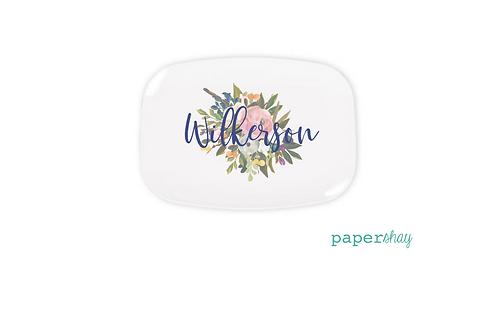 Personalized Melamine Platter Watercolor Bouquet