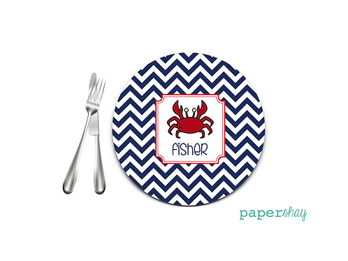 Personalized Melamine Plate  Chevron Crab