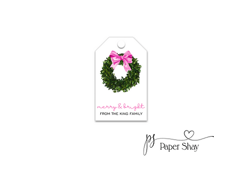 Hang Tags--Wreath with Bow