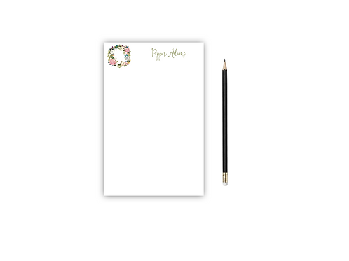 Personalized Notepad FLORAL WREATH