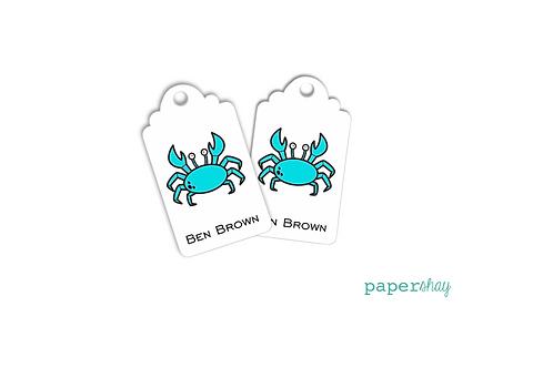 Hang Tags--Aqua Crab