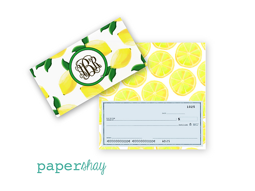 Checkbook Cover-Lemons