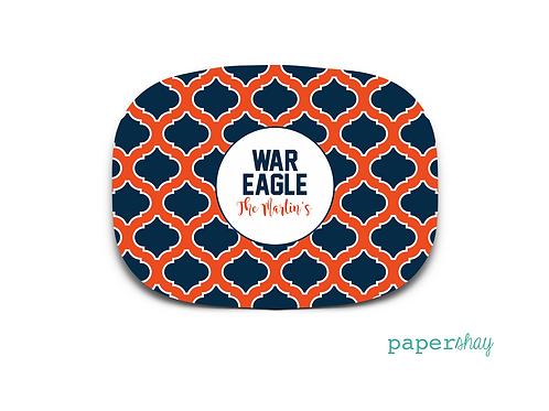 Personalized Melamine Platter Auburn War Eagles